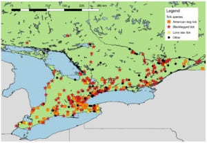 map of tick species found in Ontario